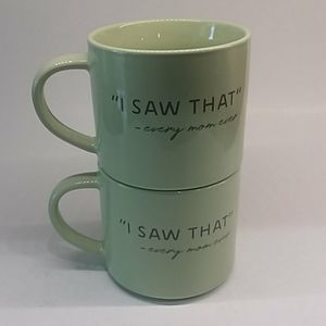 """I SAW THAT"" 2 Threshold coffee mugs mint green"